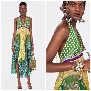 Floral Boho Halter Dress